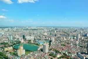 ベトナム ハノイの街並みと青空
