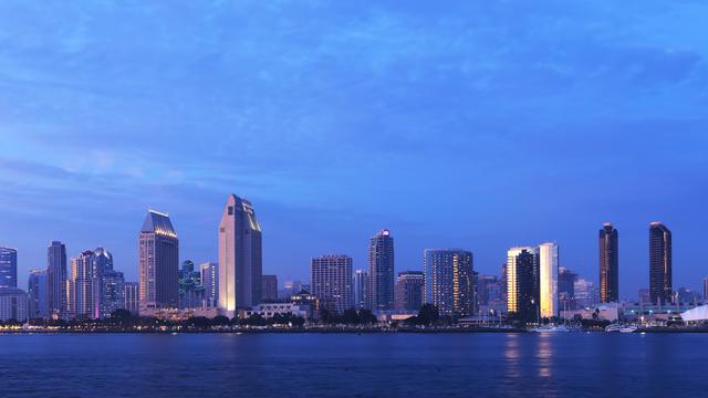 San Diego, California cityscape seen at sunset