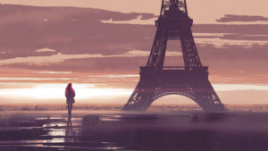 alone woman in Paris at dawn