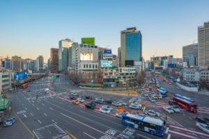 Traffic with cityscape skyline in Seoul, Korea