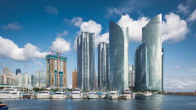 Busan city skyline and skyscrapers in the Haeundae