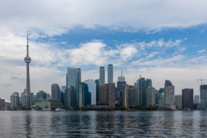 The City and Skyline of Toronto in Canada, 30. May 2019